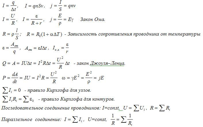 формулы теме явления по шпаргалка электрические
